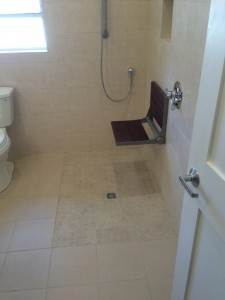 Wheelchair accessible shower area.